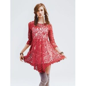 Free People | Red Floral Mesh Lace Scalloped Dress